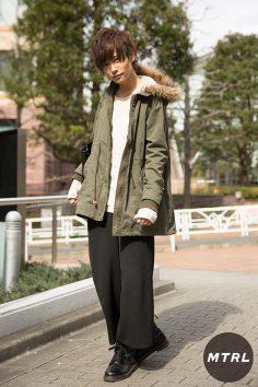 2017年冬の渋谷原宿リアルスタイル【MTRL_SNAP】モッズコートが主役のカジュアルコーデ りょま