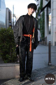 2017年春の渋谷原宿リアルスタイル【MTRL_SNAP】オレンジを差し色にした攻めコーデ トノオカタクミ