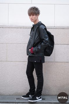 2017年春の渋谷原宿リアルスタイル【MTRL_SNAP】 シングルレザージャケットが主役のロックスタイル 林 紘夢