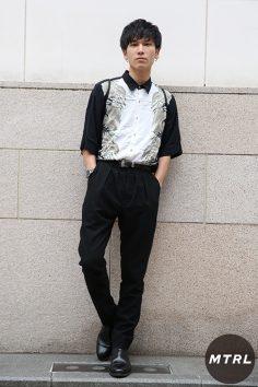 2017年春夏の渋谷原宿リアルスタイル【MTRL_SNAP】シャツをタックインした初夏のモードスタイル フジヤマ タケト