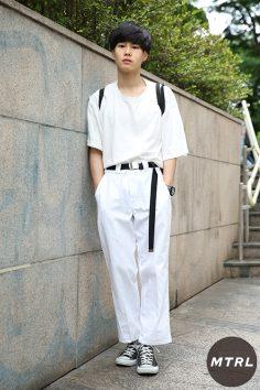2017年春夏の渋谷原宿リアルスタイル【MTRL_SNAP】オールホワイトで統一したオシャレ上級者向けコーデ 黒坂英司